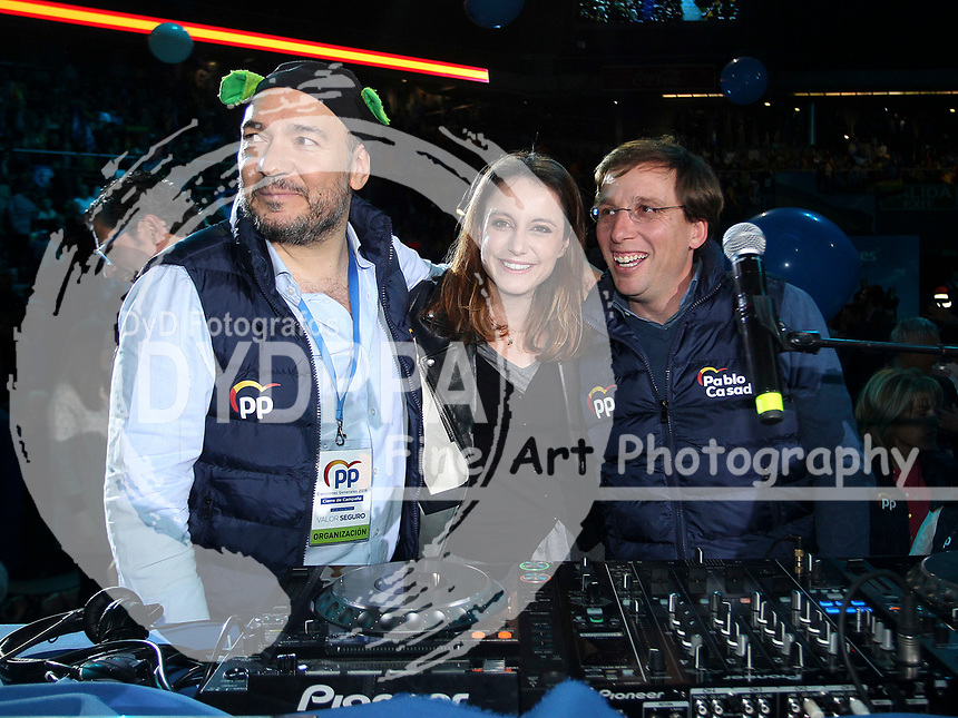 The closing of the campaign of the PP (Partido Popular) party, on Sunday the 28th are the general elections, at WiZink Center in Madrid on April 26, 2019.<br /> El Pulpo, Andrea Levy and Jose Luis Martinez-Almeida