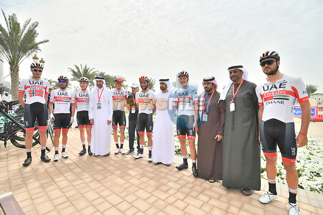UAE Team Emirtaes riders before the start of Stage 5 of the 2019 UAE Tour, running 181km form Sharjah to Khor Fakkan, Dubai, United Arab Emirates. 28th February 2019.<br /> Picture: LaPresse/Massimo Paolone | Cyclefile<br /> <br /> <br /> All photos usage must carry mandatory copyright credit (© Cyclefile | LaPresse/Massimo Paolone)