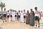 UAE Team Emirtaes riders before the start of Stage 5 of the 2019 UAE Tour, running 181km form Sharjah to Khor Fakkan, Dubai, United Arab Emirates. 28th February 2019.<br /> Picture: LaPresse/Massimo Paolone | Cyclefile<br /> <br /> <br /> All photos usage must carry mandatory copyright credit (&copy; Cyclefile | LaPresse/Massimo Paolone)