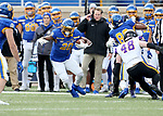 BROOKINGS, SD - NOVEMBER 16: Pierre Strong Jr. #20 of the South Dakota State Jackrabbits looks to cut back past Chris Kolarevic #48 of the Northern Iowa Panthers during their game Saturday afternoon at Dana J. Dykhouse Stadium in Brookings, SD. (Photo by Dave Eggen/Inertia)