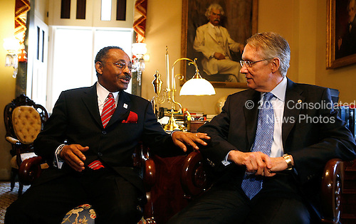Washington, DC - January 7, 2009 -- Illinois U.S. Senate appointee Roland Burris (L) meets with Senate Majority Leader Harry Reid (Democrat of Nevada) (R) on Capitol Hill, Tuesday, January 7, 2009 in Washington, DC. Burris, who was appointed by Illinois Governor Rod R. Blagojevich to replace President Elect Barack Obama's Senate seat, returned to the Hill for a meeting with Democratic Senate leaders to discuss his appointment to the Senate..Credit: Alex Wong - Pool via CNP