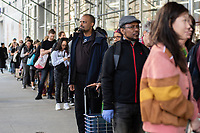 NEW YORK, USA - MARCH 13: People make line up to buy supplies at Manhattan supermarkets, After president Donald Trump  speech to the nation declaring a national emergency in the face of the coronavirus pandemic on March 13, 2020 in New York, USA  (Photo by Joana Toro/ VIEWpress via Getty Images)