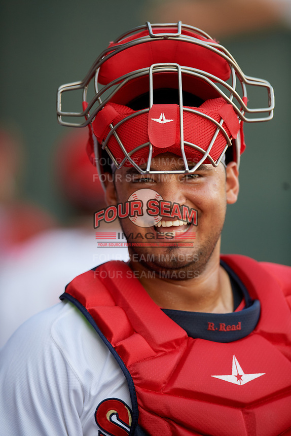 Harrisburg Senators catcher Raudy Read (8) before a game against the Erie SeaWolves on August 29, 2018 at FNB Field in Harrisburg, Pennsylvania.  Harrisburg defeated Erie 5-4.  (Mike Janes/Four Seam Images)