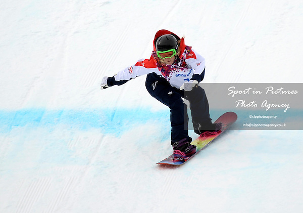 Jenny Jones (GBR). Womens Snowboard Slopestyle - semi final - PHOTO: Mandatory by-line: Garry Bowden/SIPPA/Pinnacle - Photo Agency UK Tel: +44(0)1363 881025 - Mobile:0797 1270 681 - VAT Reg No: 768 6958 48 - 090214 - 2014 SOCHI WINTER OLYMPICS - Rosa Khutor Extreme Park, Sochii, Russia