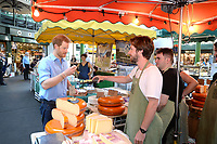 15 June 2017 - Prince Harry trying some cheese during a visit to Borough Market in London which has opened yesterday for the first time since the London Bridge terrorist attack. Photo Credit: ALPR/AdMedia