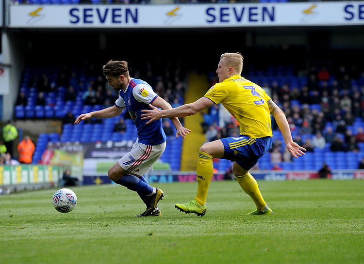 Ipswich Town's Gwion Edwards battles with Birmingham City's Kristian Pedersen<br /> <br /> Photographer Hannah Fountain/CameraSport<br /> <br /> The EFL Sky Bet Championship - Ipswich Town v Birmingham City - Saturday 13th April 2019 - Portman Road - Ipswich<br /> <br /> World Copyright © 2019 CameraSport. All rights reserved. 43 Linden Ave. Countesthorpe. Leicester. England. LE8 5PG - Tel: +44 (0) 116 277 4147 - admin@camerasport.com - www.camerasport.com