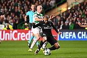 12th September 2017, Glasgow, Scotland; Champions League football, Glasgow Celtic versus Paris Saint Germain;  KYLIAN MBAPPE (psg)fouled by Scott Brown (cel)