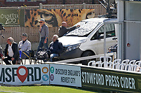 The windscreen of a van is covered after the batsmen are distracted by relections during Essex CCC vs Nottinghamshire CCC, Specsavers County Championship Division 1 Cricket at The Cloudfm County Ground on 14th May 2019