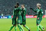 13.01.2018, Weser Stadion, Bremen, GER, 1.FBL, Werder Bremen vs TSG 1899 Hoffenheim, im Bild<br /> <br /> 1 zu 1 Theodor Gebre Selassie (Werder Bremen #23) jubel mit Zlatko Junuzovic (Werder Bremen #16) re Max Kruse (Werder Bremen #10) Jerome Gondorf (Werder Bremen #8)<br /> <br /> Foto &copy; nordphoto / Kokenge