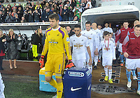Pictured: Friday 26 December 2014<br /> Re: Premier League, Swansea City FC v Aston Villa at the Liberty Stadium, Swansea, south Wales, UK.<br /> <br /> Lukasz Fabianski leaving the tunnel