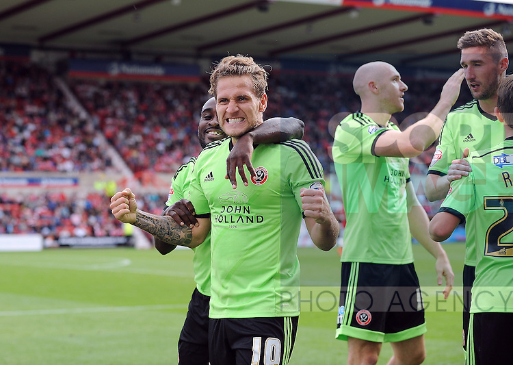 Billy Sharp of Sheffield United celebrates scoring his goal to make it 2-0<br /> - Sky Bet League One - Swindon Town vs Sheffield United - The County Ground - Swindon - England - 29th August 2015 - <br /> --------------------