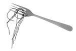 X-ray image of spaghetti on a fork (black on white) by Jim Wehtje, specialist in x-ray art and design images.