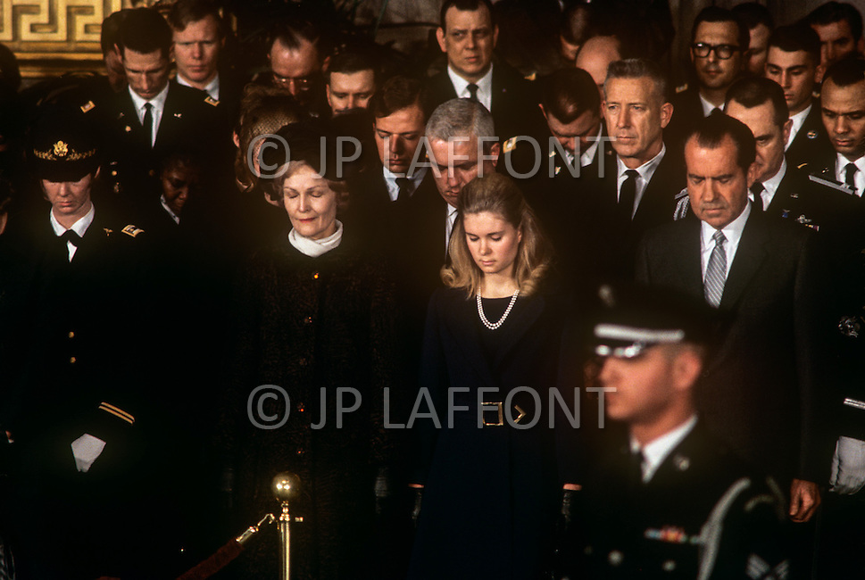 Washington National Cathedral - March 31, 1969. President Richard Nixon with wife Patricia and daughter Tricia at the funeral procession of former President Dwight Eisenhower. He (October 14, 1890 - March 28, 1969) was the 34th President of the United States from 1953 until 1961, was a five-star general in the United States Army during World War II and was the first supreme commander of NATO.