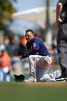 Minnesota Twins left fielder Oswaldo Arcia (31) during a Spring Training game against the Baltimore Orioles on March 7, 2016 at Ed Smith Stadium in Sarasota, Florida.  Minnesota defeated Baltimore 3-0.  (Mike Janes/Four Seam Images)