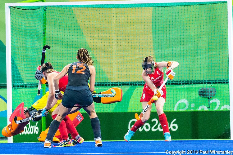 Helen Richardson-Walsh #8 of Great Britain clears the ball from short corner during Netherlands vs Great Britain in the gold medal final at the Rio 2016 Olympics at the Olympic Hockey Centre in Rio de Janeiro, Brazil.