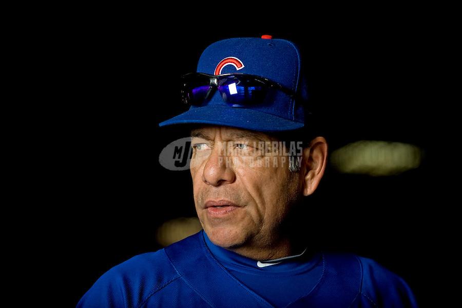 Feb. 24, 2010; Mesa, AZ, USA; Chicago Cubs hitting coach Rudy Jaramillo during spring training practice at Fitch Park. Mandatory Credit: Mark J. Rebilas-