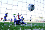 Ollie Palmer of Grimsby Town (left) scores the opening goal against Woking during the Vanamara Conference League match at the Kingfield Stadium, Woking, Surrey<br /> Picture by David Horn/eXtreme aperture photography +44 7545 970036<br /> 07/03/2015