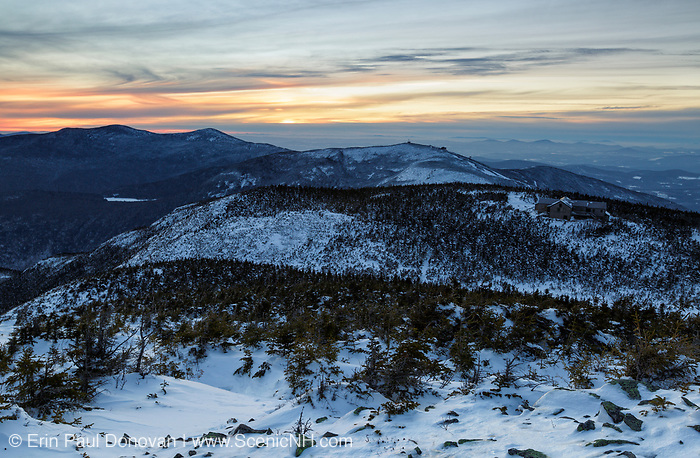 Sunset from Greenleaf Trail on Mount Lafayette in the White Mountains of New Hampshire USA during the winter months. Greenleaf Hut is in view.