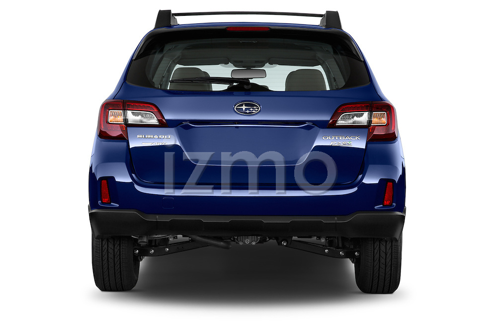 Straight rear view of a 2015 Subaru Outback 2.5i CVT 4 Door Wagon Rear View  stock images