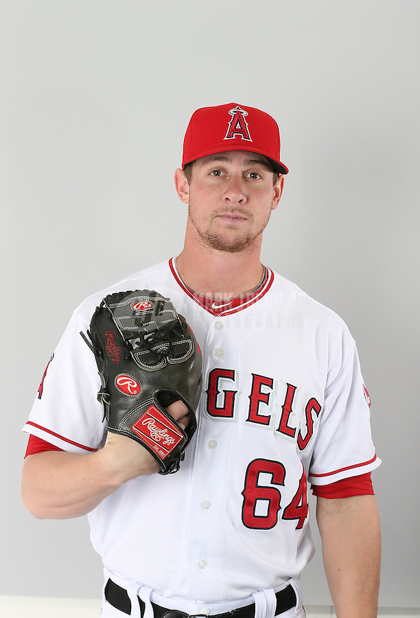 Feb. 21, 2113; Tempe, AZ, USA: Los Angeles Angels pitcher Andrew Taylor poses for a portrait during photo day at Tempe Diablo Stadium. Mandatory Credit: Mark J. Rebilas-