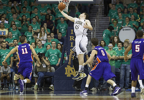 November 10, 2012:  Notre Dame forward Jack Cooley (45) grabs rebound during NCAA Basketball game action between the Notre Dame Fighting Irish and the Evansville Purple Aces at Purcell Pavilion at the Joyce Center in South Bend, Indiana.  Notre Dame defeated Evansville 58-49.