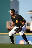 Bradenton Marauders first baseman Jose Osuna (28) during a game against the Palm Beach Cardinals on April 9, 2014 at McKechnie Field in Bradenton, Florida.  Palm Beach defeated Bradenton 3-1.  (Mike Janes/Four Seam Images)