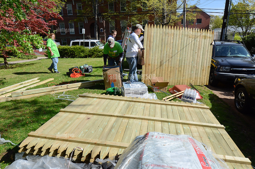 Group Activity with fencing - Wellpoint Community Service Day   New Haven CT