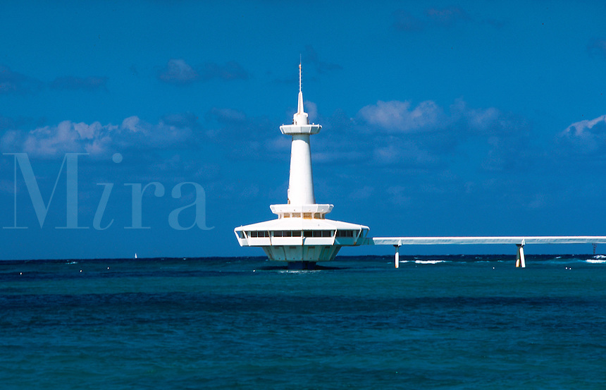 Above water-line section of an underwater observation tower. Coral Island, Nassau, Bahamas.