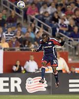 New England Revolution midfielder Sainey Nyassi (31) heads the ball. The New England Revolution tied DC United, 2-2, in Gillette Stadium on May 29, 2008.