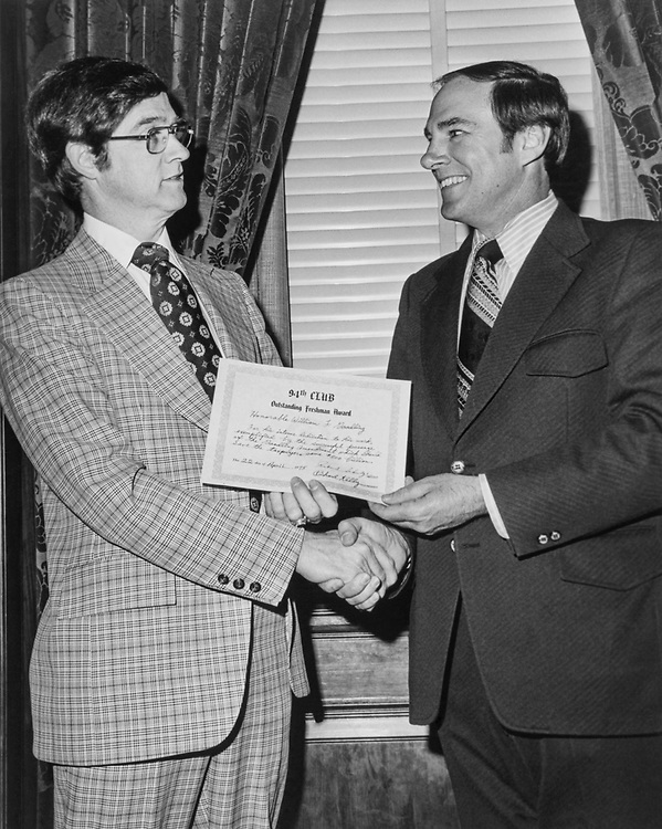 Rep. William F. Goodling, R-Pa. receiving Outstanding Freshman Award from Rep. Richard T. Schulze, R-Pa. in 1976. (Photo by CQ Roll Call)