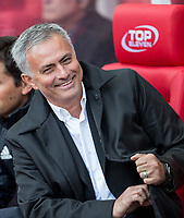 Man Utd Manager Jose Mourinho smiles ahead of the Premier League match between Stoke City and Manchester United at the Britannia Stadium, Stoke-on-Trent, England on 9 September 2017. Photo by Andy Rowland.