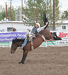 Zeno Schuetze rides bareback in the 2007 Fallon Senior Pro Rodeo.