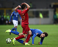 Football: Uefa Nations League Group 3match Italy vs Portugal at Giuseppe Meazza (San Siro) stadium in Milan, on November 17, 2018.<br /> Italy's Federico Chiesa (r) in action with Portugal's Mario Rui (l) during the Uefa Nations League match between Italy and Portugal at Giuseppe Meazza (San Siro) stadium in Milan, on November 17, 2018.<br /> UPDATE IMAGES PRESS/Isabella Bonotto