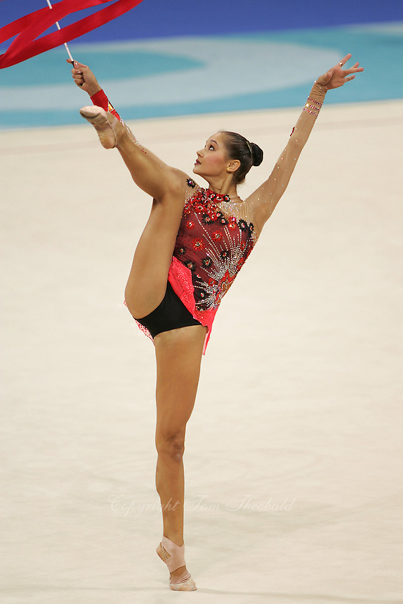 Irina Tchachina of Russia balances with ribbon during qualification round at 2004 Athens Olympic Games on August 27, 2006 at Athens, Greece. Irina won silver in the All-Around final. (Photo by Tom Theobald)