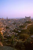 City at dawn seen from hills east of Tajo river. Toledo Castilla-La Mancha Spain.