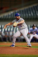 St. Lucie Mets relief pitcher Matt Pobereyko (38) delivers a pitch during a game against the Florida Fire Frogs on April 19, 2018 at Osceola County Stadium in Kissimmee, Florida.  St. Lucie defeated Florida 3-2.  (Mike Janes/Four Seam Images)