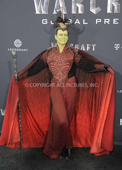 WWW.ACEPIXS.COM<br /> <br /> June 6 2016, LA<br /> <br /> Actress Jamie Lee Curtis arrives at the premiere of Universal Pictures' 'Warcraft' at the TCL Chinese Theatre IMAX on June 6, 2016 in Hollywood, California. <br /> <br /> <br /> By Line: Peter West/ACE Pictures<br /> <br /> <br /> ACE Pictures, Inc.<br /> tel: 646 769 0430<br /> Email: info@acepixs.com<br /> www.acepixs.com