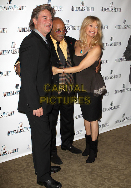 "KURT RUSSELL, QUINCY JONES & GOLDIE HAWN.The Quincy Jones Foundation, Harvard School of Public Health and Audemars Piguet Celebrate the Second-Annual ""Q"" Prize held at Time Warner Center, New York, NY, USA..November 13th, 2008.full length black suit skirt brown tank top boots waistcoat plaid couple .CAP/ADM/PZ.©Paul Zimmerman/AdMedia/Capital Pictures."