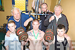 GO ON GARY: Gary Eager from Tralee (centre) who took first place at the Irish Powerlifting Championships in Limerick last weekend with friends and supporters at Jimmy O'Mahony's gym in Tralee, front l-r David Power, Sean Birdsall. Back l-r: Jimmy O'Mahony, Ger Tobin, Gerald O'Mahony.