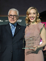 HOLLYWOOD, CA - NOVEMBER 15: Consul General of Italy in Los Angeles Antonio Verde, Sarah Gadon, at AFI FEST 2017 Presents Cinema Italian Style Kick-Off Event And Inaugural Cinecitta Key Award Ceremony on November 15, 2017 at The Roosevelt Hotel in Hollywood, California. Credit: Faye Sadou/MediaPunch /NortePhoto.com