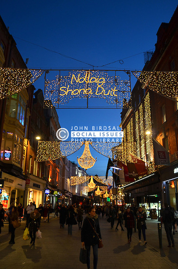 Christmas lights in Grafton Street, Dublin, Ireland Nov 2016