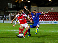 Fleetwood Town's Conor McAleny scores his side's second goal<br /> <br /> Photographer Alex Dodd/CameraSport<br /> <br /> The EFL Checkatrade Trophy - Northern Group B - Fleetwood Town v Leicester City U21 - Tuesday September 11th 2018 - Highbury Stadium - Fleetwood<br />  <br /> World Copyright &copy; 2018 CameraSport. All rights reserved. 43 Linden Ave. Countesthorpe. Leicester. England. LE8 5PG - Tel: +44 (0) 116 277 4147 - admin@camerasport.com - www.camerasport.com