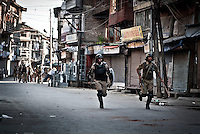 Muslim protesters held stone pelting on Misuma neighborhood of Srinagar. Outcries spark in downtown against human rights violations by indian police after a teenager was killed under police custody last week.
