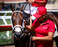 DEL MAR, CA August 05: #2 River Boyne (IRE) and his groom after winning the Grade III La Jolla Handicap at Del Mar on August 05, 2018 in Del Mar, California (Photo by Chris Crestik/Eclipse Sportswire)