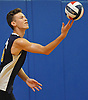 Chris Parker #18 of Northport serves during the round-robin portion of a Suffolk County varsity boys volleyball tournament match against Connetquot at Northport High School on Saturday, Sept. 10, 2016.