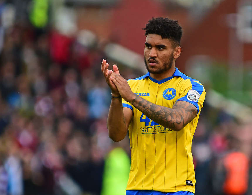 Torquay United's Jamie Reid<br /> <br /> Photographer Andrew Vaughan/CameraSport<br /> <br /> Vanarama National League - Lincoln City v Torquay United - Friday 14th April 2016  - Sincil Bank - Lincoln<br /> <br /> World Copyright &copy; 2017 CameraSport. All rights reserved. 43 Linden Ave. Countesthorpe. Leicester. England. LE8 5PG - Tel: +44 (0) 116 277 4147 - admin@camerasport.com - www.camerasport.com