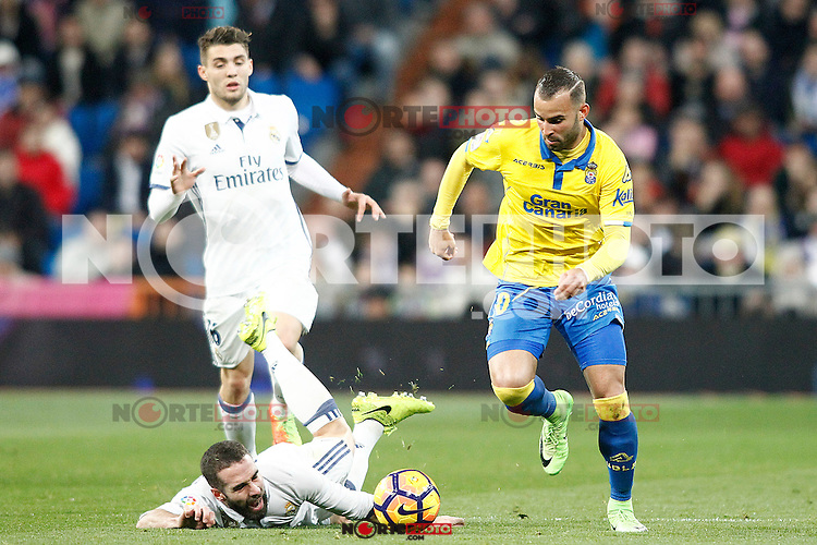 Real Madrid's Mateo Kovacic (l) and Daniel Carvajal (c) and UD Las Palmas' Jese Rodriguez during La Liga match. March 1,2017. (ALTERPHOTOS/Acero) /NortePhoto.com