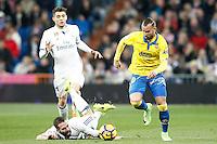 Real Madrid's Mateo Kovacic (l) and Daniel Carvajal (c) and UD Las Palmas' Jese Rodriguez during La Liga match. March 1,2017. (ALTERPHOTOS/Acero) /NortePhoto.com