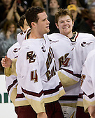 (Bertram) Mike Brennan (BC 4), John Muse (BC 1) - The Boston College Eagles defeated the Harvard University Crimson 6-5 in overtime on Monday, February 11, 2008, to win the 2008 Beanpot at the TD Banknorth Garden in Boston, Massachusetts.