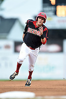 Batavia Muckdogs outfielder Ryan Aper (3) running the bases during a game against the Brooklyn Cyclones on August 11, 2014 at Dwyer Stadium in Batavia, New York.  Batavia defeated Brooklyn 4-3.  (Mike Janes/Four Seam Images)